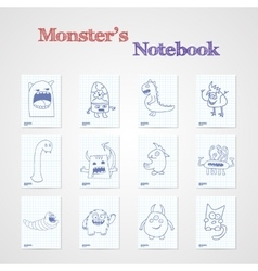 Set of eight notebook sheets with funny monsters vector image
