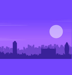 silhouette of london building scenery collection vector image