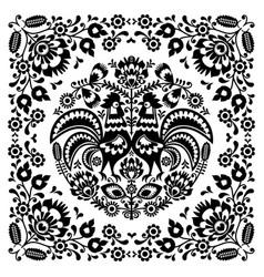 Sqaure-polish-folk-pattern-1b-monochrome vector