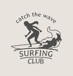 Surfing club logo or symbol design with female vector