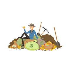 Treasure seeker sit on pile of tearsure vector