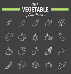 vegetable line icon set food symbols collectio vector image