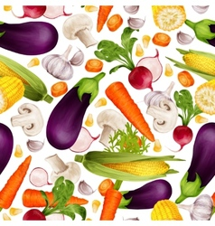 Vegetables realistic seamless pattern vector