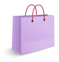 Violet paper shopping bag with yellow rope grips vector