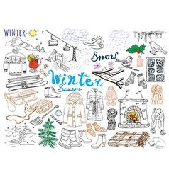 Winter season set doodles elements hand drawn set vector