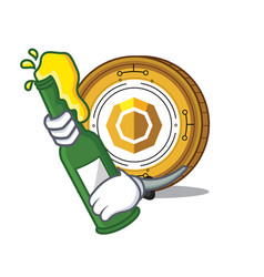 With beer komodo coin mascot cartoon vector