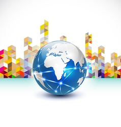World with communication concept and abstract city vector