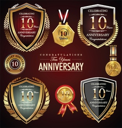 10 years anniversary labels vector image