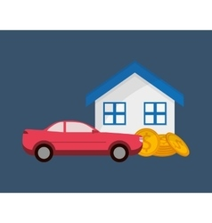 Real state and car sale icons image vector