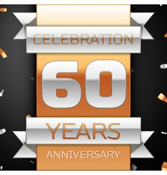 Sixty years anniversary celebration golden and vector image
