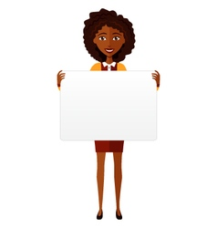 African american woman holding sign or banner vector