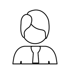 Contour half body man with suit vector