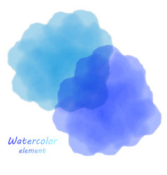 Blue watercolor blotch set of blue watercolor vector