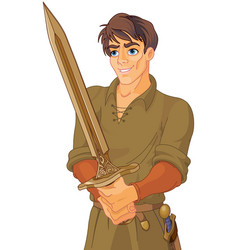 young medieval man holding a sword vector image