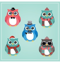 Winter hipster owl vector