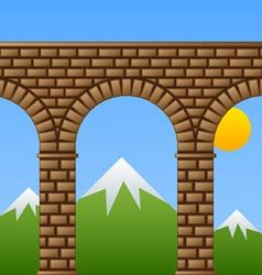 Ancient stone bridge viaduct aqueduct vector