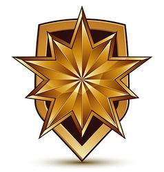 3d heraldic template with polygonal golden star vector