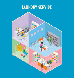 3d isometric laundry service concept vector image vector image