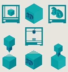 3D Printer flat blue icons set vector image vector image