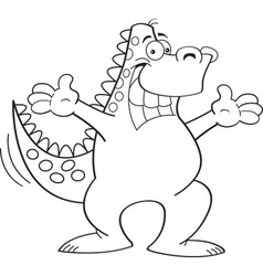 Cartoon dinosaur with arms extended vector