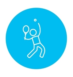 Man playing big tennis line icon vector