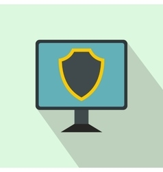 Monitor with security shield on the screen icon vector