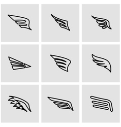 Line wing icon set vector