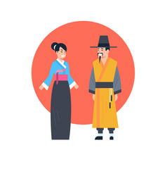 asian couple wearing ancient costume isolated vector image