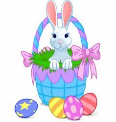 basket bunny vector image vector image