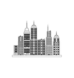 building towers high town image outline vector image