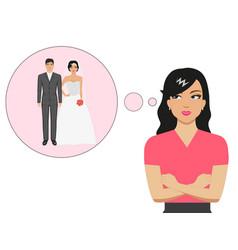 Cartoon girl dreaming about a wedding vector