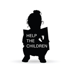 child silhouette with help children transparent vector image