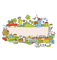 City frame for children vector image