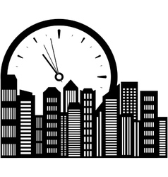 clock and city landscape vector image