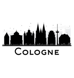 cologne city skyline black and white silhouette vector image vector image