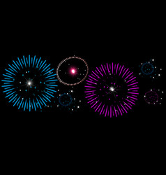 Colorful fireworks on night sky new year vector