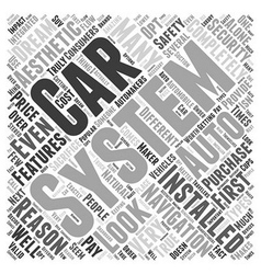 Different Types of Auto Navigation Systems Word vector image vector image