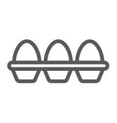Eggs in carton package line icon farming vector