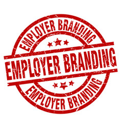 Employer branding round red grunge stamp vector