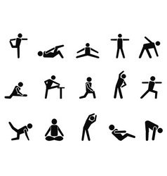 exercise stretching icons vector image vector image