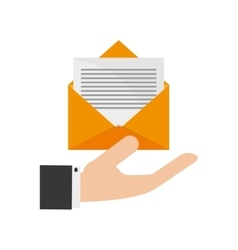 hand holding message envelope and icon vector image vector image