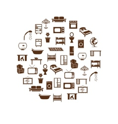 Home equipment icons in circle vector