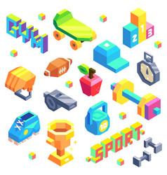 Isometric sport icon set vector