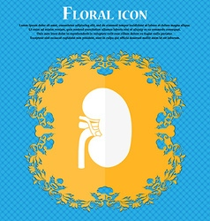 Kidney icon Floral flat design on a blue abstract vector image