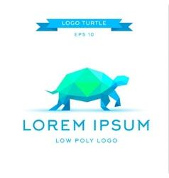 logo emerald tortoise low poly triangular vector image vector image