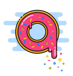 Pink donut with sprinkles black line vector