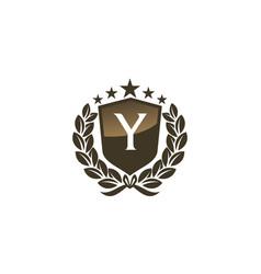 Royal vip shield leaf initial y vector