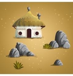 Set elements house stones shrub grass vector