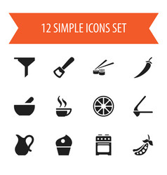 Set of 12 editable meal icons includes symbols vector