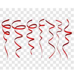 Seven red festive ribbon for christmas birthday vector